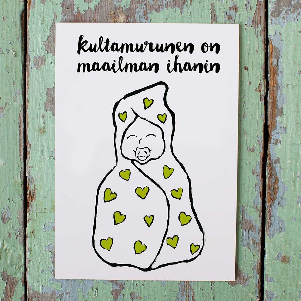 Kultamurunen maailman ihanin -vauvakortti