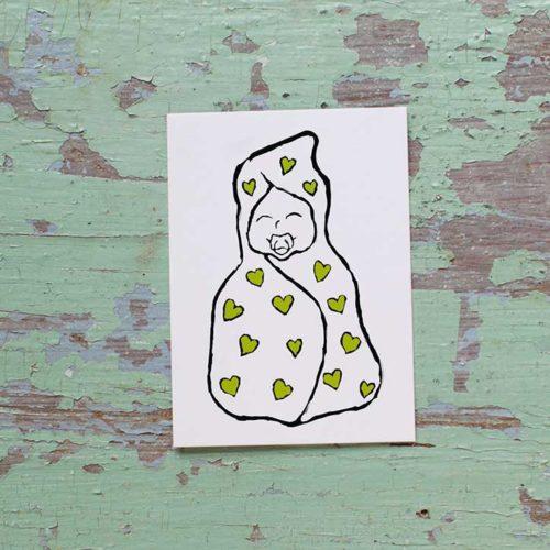 Kultamurunen vauva-pakettikortti